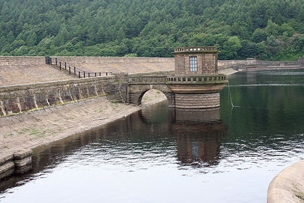 The dam at Ladybower Reservoir