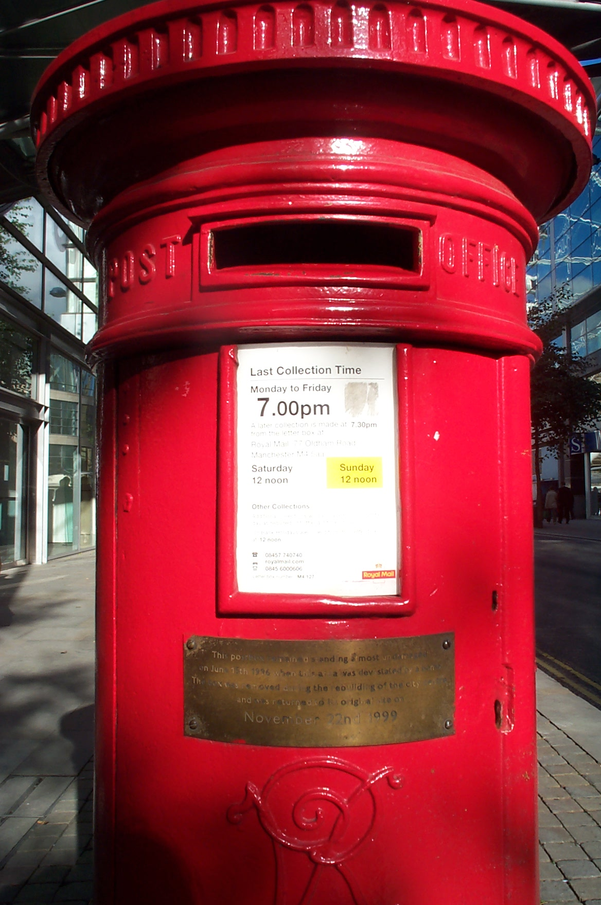 Surviving postbox from the Manchester 1996 IRA Bomb