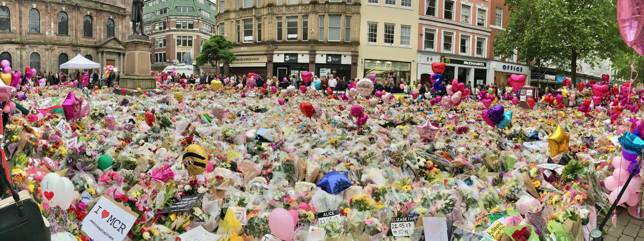 Tributes to Manchester Arena bombing victims in St Annes Square