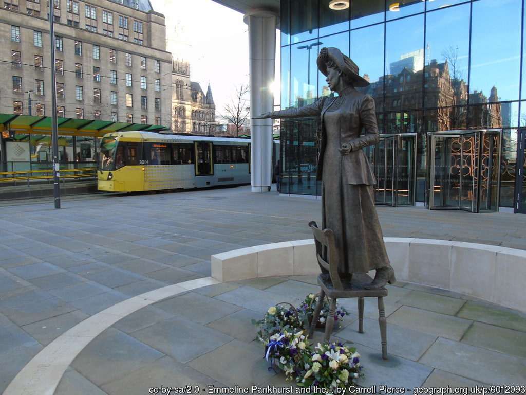 Emmeline Pankhurst Rise Up Women statue in St Peter's Square, Manchester
