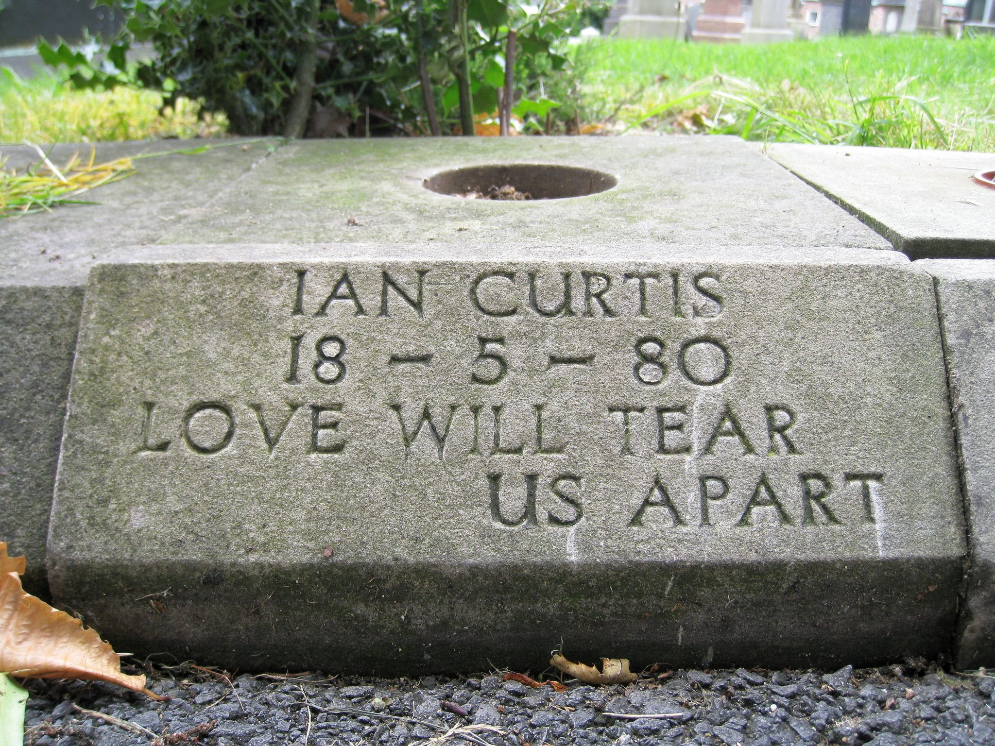 Ian Curtis memorial plaque, Macclesfield Cemetery
