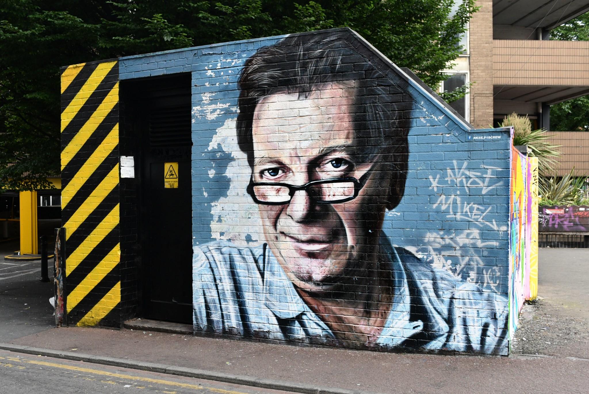 Tony Wilson artwork in Manchester