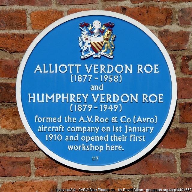 Alliot Verdon Roe blue plaque in Ancoats