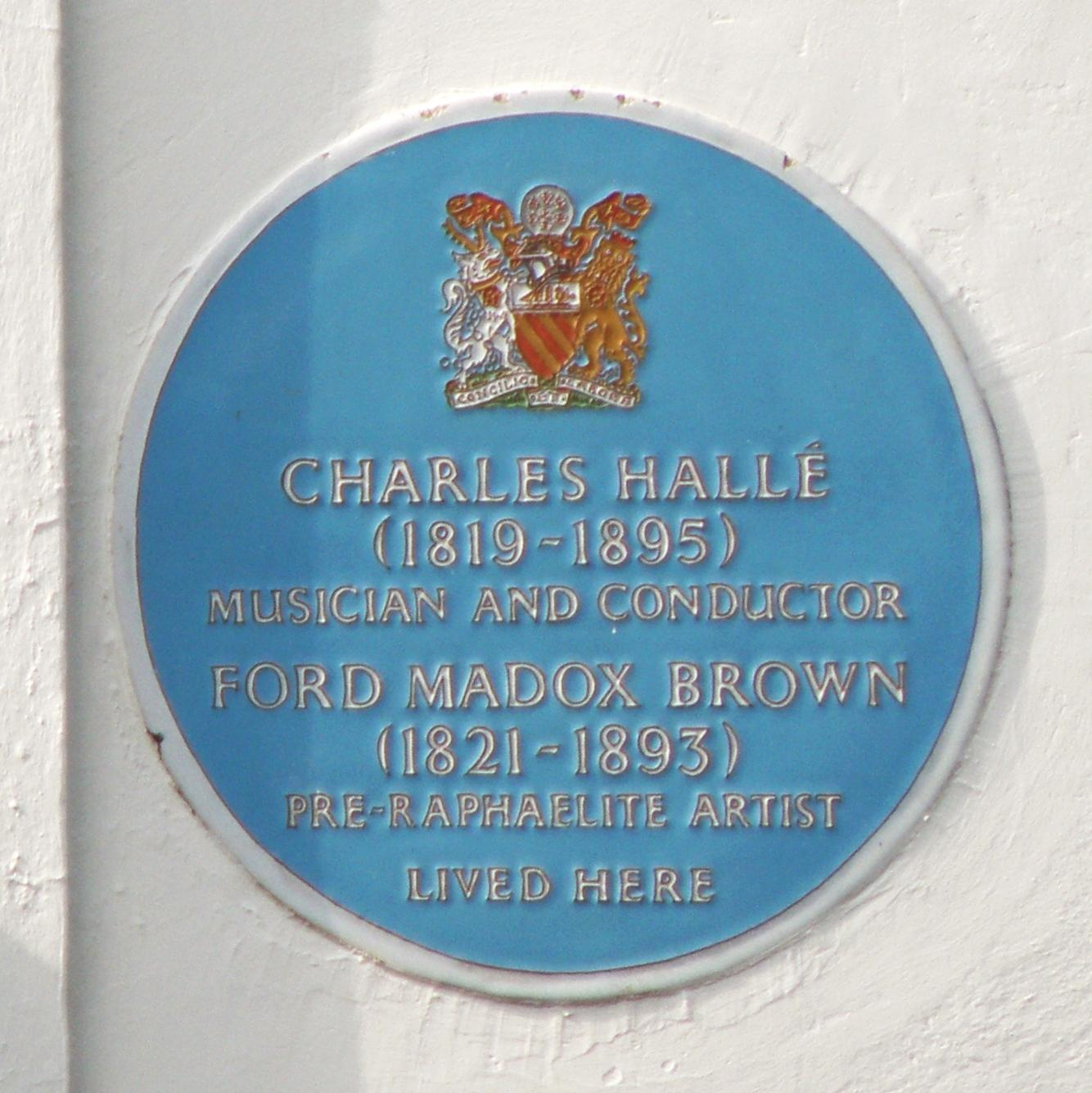 Charless Halle and Ford Madox Brown blue plaque in Manchester