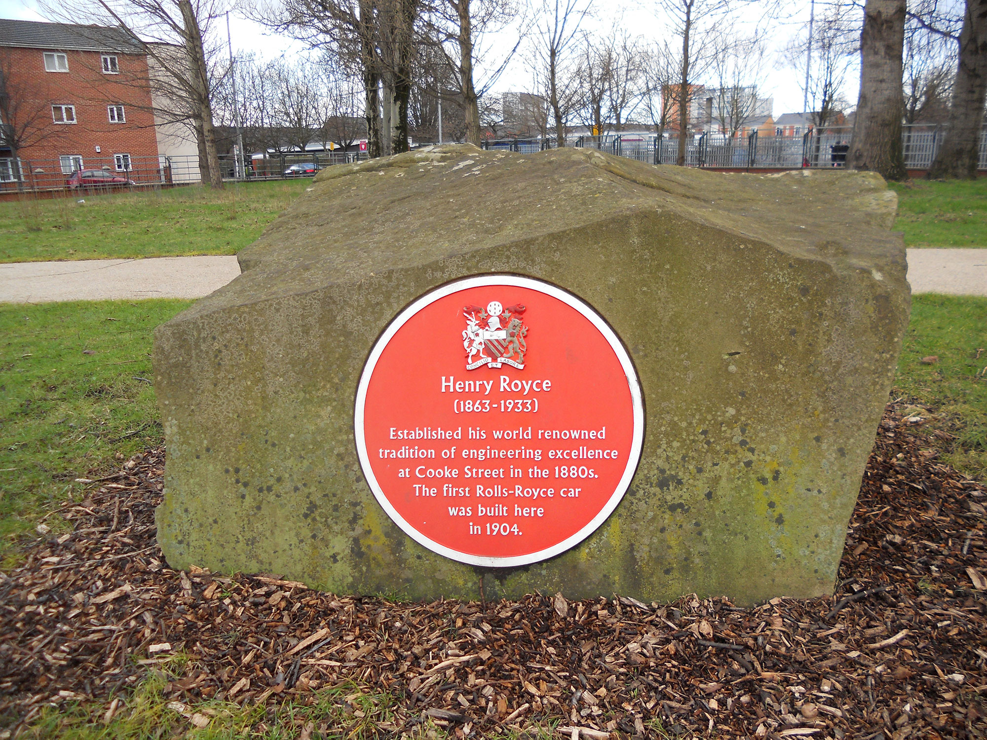 Henry Royce plaque in Hulme Park