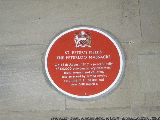 Peterloo Massacre plaque